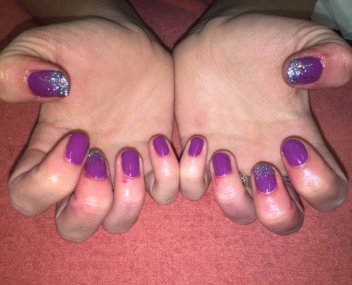 Purple & Glitter Gel Nails
