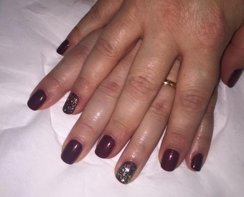Red & Gold Glitter Gel Polish