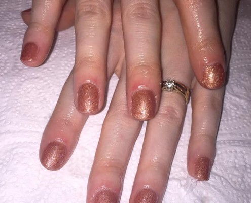 Bronze Glitter Gel Polish Nails